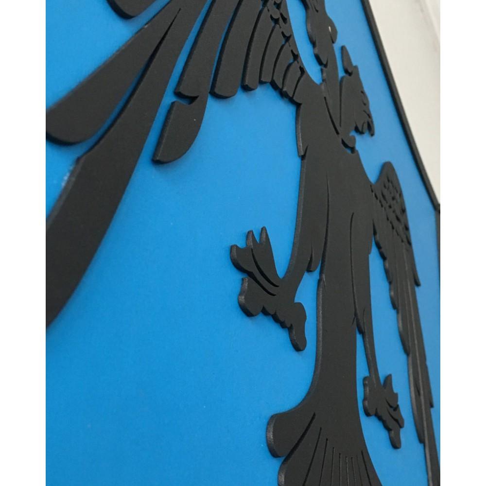 Mavi Çift Başlı Kartal - Özel Tasarım Konsept Kalkan