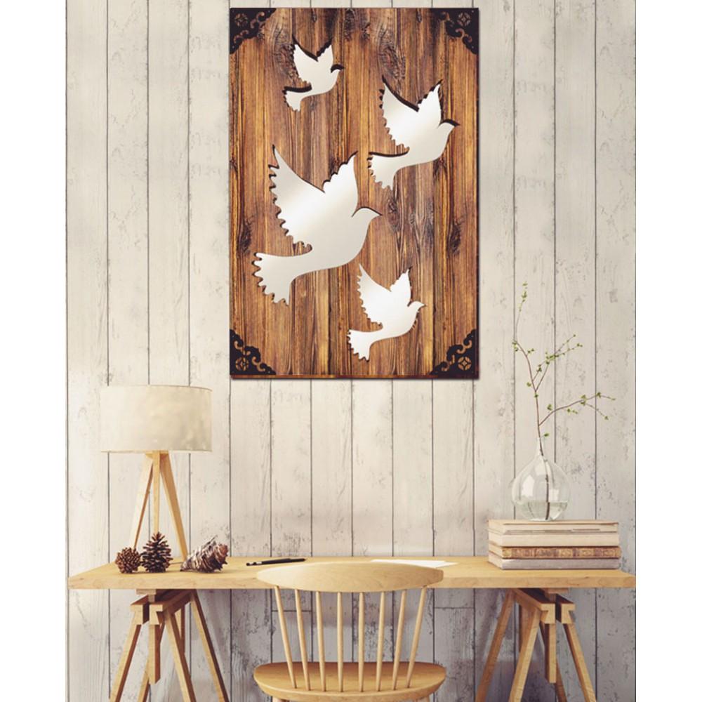 Pigeon - Dekoratif Masif Ahşap Ayna