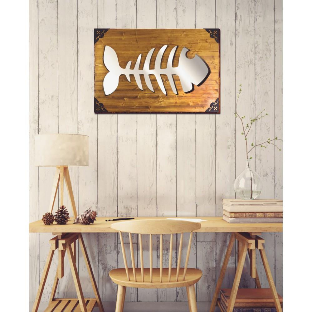 Fish - Dekoratif Masif Ahşap Ayna