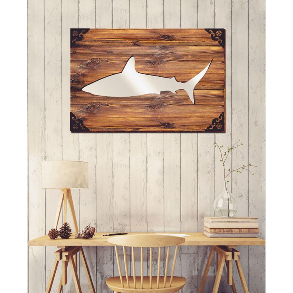 Shark - Dekoratif Masif Ahşap Ayna