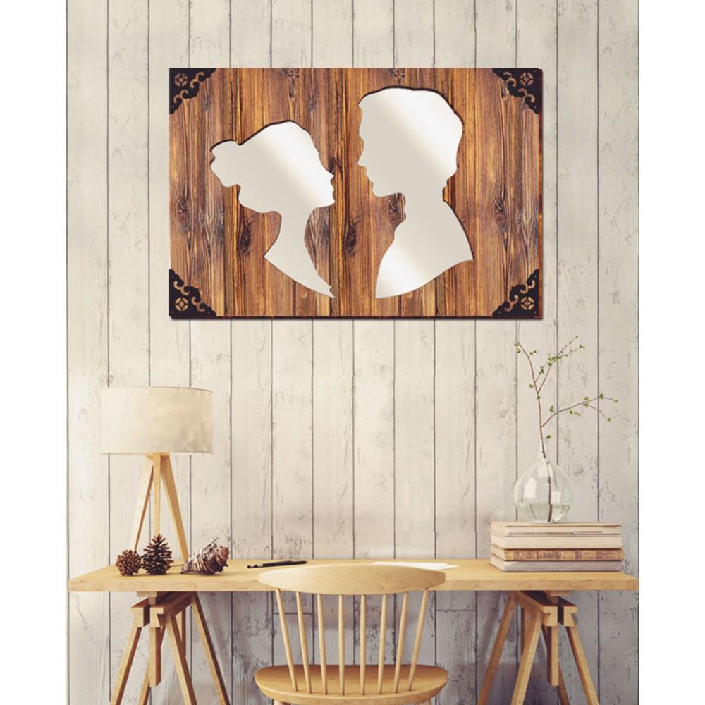 Love - Dekoratif Masif Ahşap Ayna