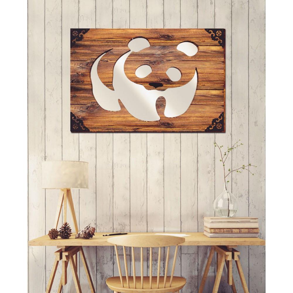 Panda - Dekoratif Masif Ahşap Ayna